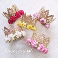 the Sienna||vintage gold lace crown headband with FLOWERS||choose ONE|| firmest lace crowns on the market