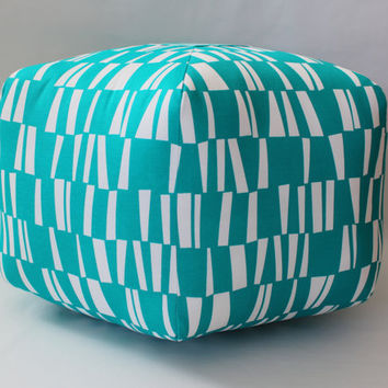 "READY TO SHIP - 24"" Ottoman Pouf Floor Pillow Turquoise Sticks"