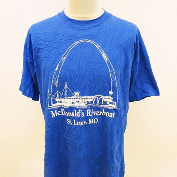 Vintage 1980s MCDONALDS RIVERBOAT St Louis Arch Indie Hipster Polo T-Shirt XL