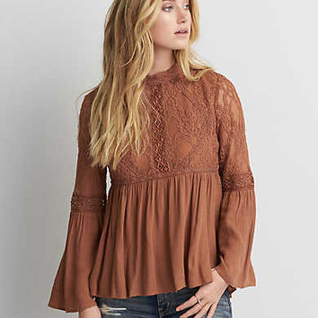 AEO Hi-Neck Mesh Lace Top , Tan