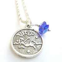 VIRGO Necklace September birthstone Zodiac jewelry Sapphire Blue crystal silver chain