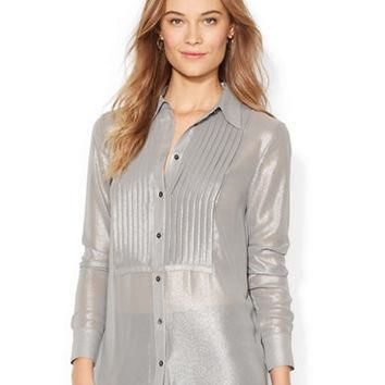 Lauren Ralph Lauren Pintucked Metallic Blouse