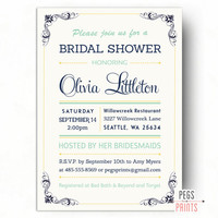 Mint and Navy Bridal Shower Invitation - Mint Bridal Shower Invites (Printable) Mint Green Bridal Shower - Typography Bridal Shower Invite