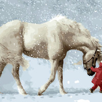 Frameless Pictures Painting By Numbers DIY Digital Canvas Oil Painting Home Decor Wall Art White Horse In Winter GX9600 40*50cm