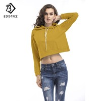 Gray Yellow Clothes 2017 Women Irregular Autumn Cropped sweatshirts Hoodies Hooded Long Sleeve Females Casual Sweatshirt C78510A