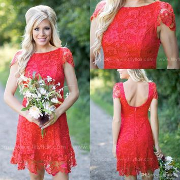 2017 Red Full Lace Short Bridesmaid Dresses 2017 Western Country Style Crew Neck Mini Backless Maid of Honor Gowns  BD270