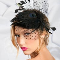 Black peacock mini cocktail hat | birdcage veils, bridal accessories by tessa kim
