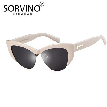 fcfec71c527 SORVINO 2018 Retro Semi-rimless Cat Eye Sunglasses-Women Brand M