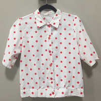 Vintage Polkadot Blouse, White Short Sleeve Blouse Red Polka Dots, Disney Bounding Minnie Mouse Red & White Blouse Flower Buttons Rockabilly