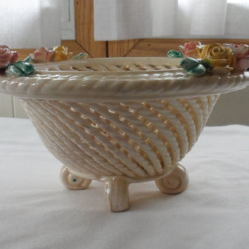 Vintage CAPODIMONTE Woven Rope Footed Table Bowl / 1950's Capodimonte Table Ornament / Made In Italy / Bought in Naples, Italy 1956