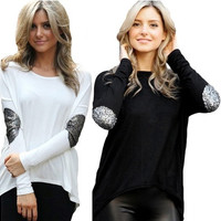 New Fashion Sexy Women Irregular Long Sleeved T-shirt Stitching All-match Lady Coat LUL [9325864708]