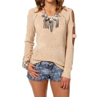 Sale-cold Shoulder Pullover Sweater