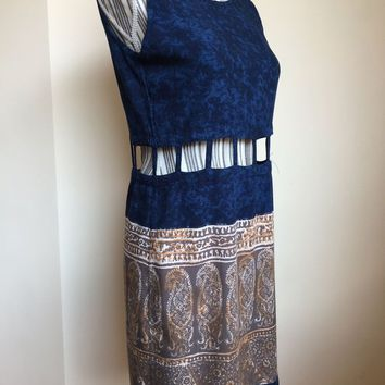 Paisley Print Dress Size Small, Blue Rayon Dress, Bohemian Mini Dress, Oval Neckline Cut Out Waist Dress, Above the Knee Sleeveless Dress