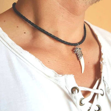 Wolf Tooth Necklace Mens Leather Necklace Braided Leather Necklace Mens Jewelry Tooth Necklace Mens Bracelets Leather Jewelry Tooth Choker