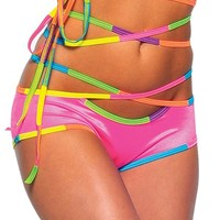 Neon Pink Infineon Short : Girls Rave Clothing from RaveReady