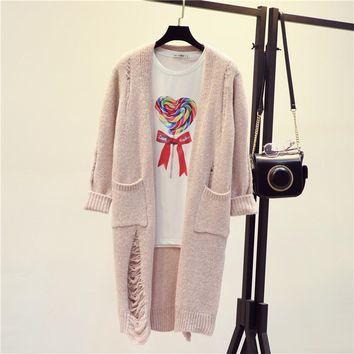 Spring Autumn Midi Pattern Fashion Broken Hole All Matched Women Knitted Cardigan Loose Sweater Thick Coat Knitwear