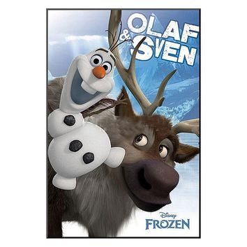 Disney's Frozen Olaf and Sven Framed Wall Art by Art.com (Blue)