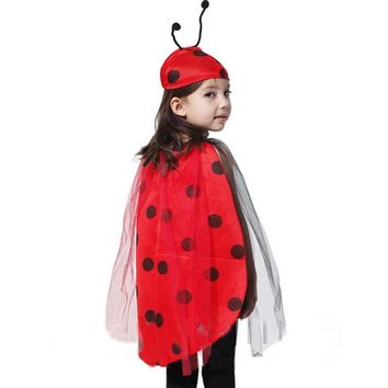 Children Girls Red Ladybug Cosplay Costume Ladybird Cloak Antenna Hat Clothing Set Halloween Dress Party Decoration