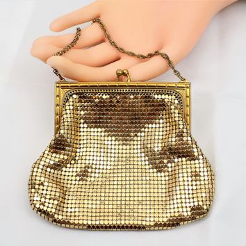 Whiting and Davis, Gold Mesh Purse, Small Evening Bag, Vintage Purses