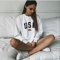USA Letter print New women fashion Long Sleeve Hoodie Sweatshirt Harajuku Jumper Hooded Pullover Tops Casual Loose White Coat