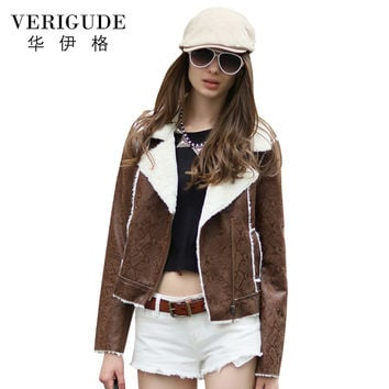 Veri Gude Women's Faux Leather Jacket Short Slim Fit Fleece Coat Winter Jacket Women