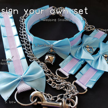 The Ashley Leash Set [Design Your Own] Elegant Thin Pleated Kitten/Pet Play Collar, Cuff and Leash Set