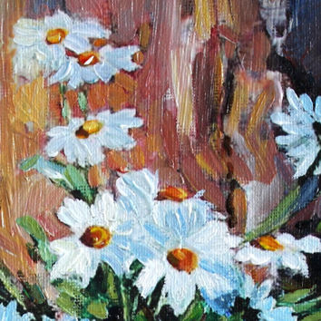 Chamomiles Oil Painting on Canvas Floral Contemporary Miniature Still Life Wall Decor