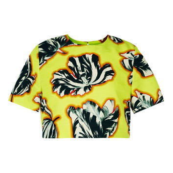 Jonathan Saunders Bibbi Crop Top - Yellow Top - ShopBAZAAR