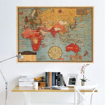 Vintage Retro Paper World Map Office Poster Wall Sticker