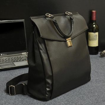 black classic leather canvas backpack bookbag gift 2