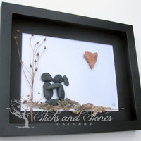 Couple's Christmas Gifts - Unique Couple's Gift- Personalized COUPLE'S Gift- SticksnStone Designs-OOAK Love Gift - Pebble Art Couple -Unique