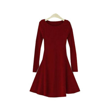 Red Long Sleeve Flounced Dress