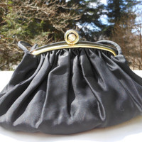 Black Handbag Rhinestone Kisslock Purse Satin Julius Resnick Small 1950's Evening Bag Formal Wear Pin Up Rockabilly Mad Men Mod Accessory