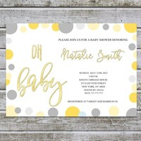 Baby Shower Invitation Boy Girl Baby Shower Invitation Gender Neutral Printable / Oh Baby Shower Invites Template / Instant Download (L25)