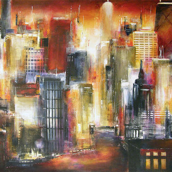 """Painting of Chicago Skyline -  """"On The Chicago River"""" - SOLD"""