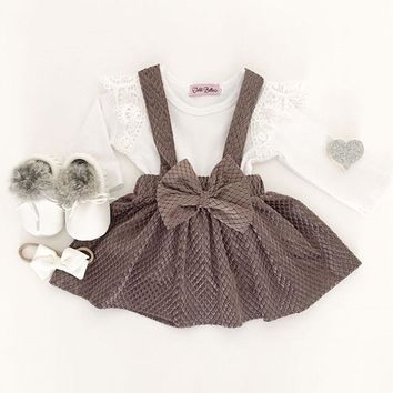 US Kids Baby Girls T-shirt Tops+Suspender Skirts Overalls Outfits Casual Clothes