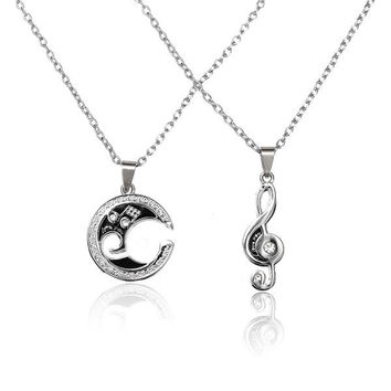 1Pair Couple Music Matching Note Pendant Necklace