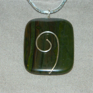 95ct. Dark Green Stone, Semi Precious, Agate, Pendant, Necklace, Rectangle, Natural Stone, 147-15