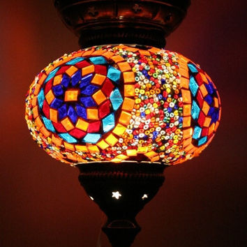 Large Turkish Moroccan mosaic hanging lamp pendant lantern lighting lampshade