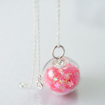 Candy pink star glitter hand blown glass ball by thestudio8