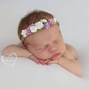 2017 New Arrival Tieback Flower Crown Headband for Newborn Photograph Props Boys Girls Hairbands Headwear Hair Accessories