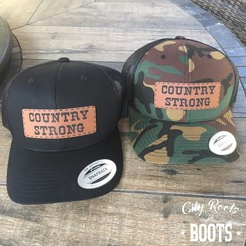 """COUNTRY STRONG"" Leather Patch Snapback Hat"
