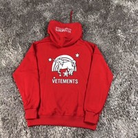 """Vetements"" Letter Unicorn Print Hooded Long Sleeve Sweater Women Casual Pullover Hoodie Tops"