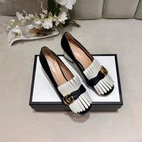 Top quality 2020 office GUCCI Women Fashion Retro Buckle Leather Heels sandals Shoes white black