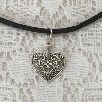 Heart Choker Necklace 90s choker necklace black cord choker necklace