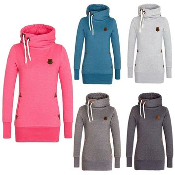 Funnel Neck Pullover Hoodies For Women