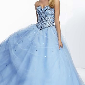 Floor Length Strapless Ball Gown