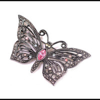 Vintage Rhinestone Butterfly Brooch, Pink Blue & Yellow in Pewter, Dark Silver Butterfly, Summer Jewelry, Gift For Her
