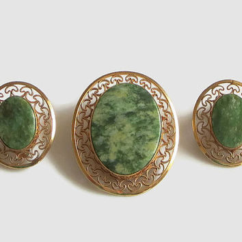 Winard Nephrite Jade Filigree Pendant Pin & Earrings, Vintage Green Stone Jewelry Set, 12K Gold Filled, Signed, Lovely!