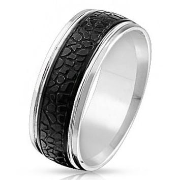 Sea Monster – FINAL SALE Black IP silver stainless steel crocodile skin pattern men's ring